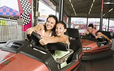 Family in bumper cars